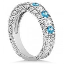 Antique Diamond & Blue Topaz Engagement Wedding Ring Band Platinum (1.40ct)