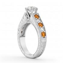 Vintage Diamond & Citrine Engagement Ring Setting 14k White Gold (1.35ct)