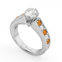 Vintage Diamond & Citrine Engagement Ring Setting 18k White Gold (1.35ct)