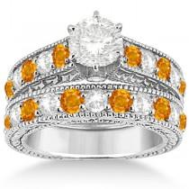 Antique Diamond & Citrine Bridal Wedding Ring Set 14k White Gold (2.75ct)