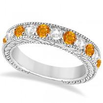 Antique Diamond & Citrine Engagement Wedding Ring 18k White Gold (1.40ct)