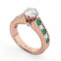 Vintage Diamond & Emerald Engagement Ring 14k Rose Gold (1.23ct)