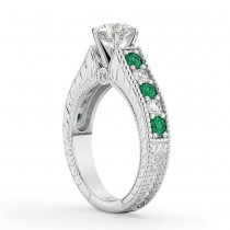 Vintage Diamond & Emerald Engagement Ring 14k White Gold (1.23ct)