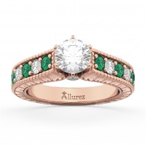 Vintage Diamond & Emerald Engagement Ring 18k Rose Gold (1.23ct)