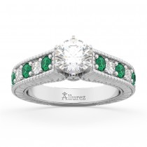 Vintage Diamond & Emerald Engagement Ring 18k White Gold (1.23ct)
