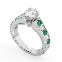 Vintage Diamond & Emerald Engagement Ring 18k White Gold (1.23ct)