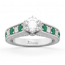 Vintage Diamond & Emerald Engagement Ring Setting Platinum (1.23ct)