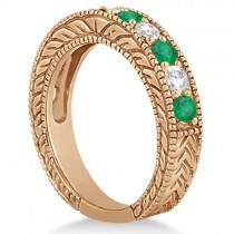 Antique Diamond & Emerald Bridal Ring Set 14k Rose Gold (2.51ct)
