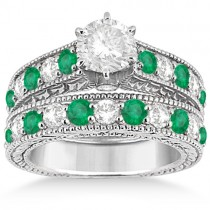 Antique Diamond & Emerald Bridal Ring Set 14k White Gold (2.51ct)