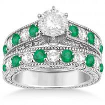 Antique Diamond & Emerald Bridal Ring Set 14k White Gold (2.51ct)