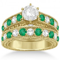 Antique Diamond & Emerald Bridal Ring Set 14k Yellow Gold (2.51ct)