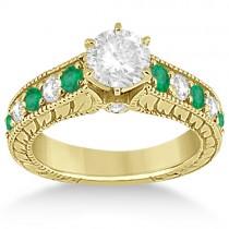 Antique Diamond & Emerald Bridal Ring Set 18k Yellow Gold (2.51ct)