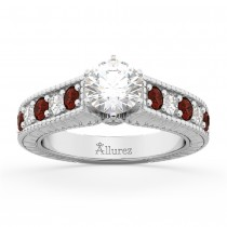 Vintage Diamond & Garnet Engagement Ring Setting 14k White Gold (1.35ct)