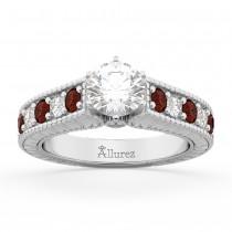 Vintage Diamond & Garnet Engagement Ring Setting 14k White Gold (1.35ct)