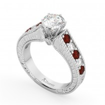 Vintage Diamond & Garnet Engagement Ring Setting in Palladium (1.35ct)