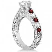 Antique Diamond & Garnet Bridal Wedding Ring Set 14k White Gold (2.75ct)