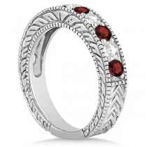 Antique Diamond & Garnet Engagement Wedding Ring Band Platinum (1.40ct)