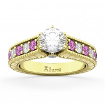 Vintage Diamond & Pink Sapphire Engagement Ring 14k YL Gold (1.41ct)