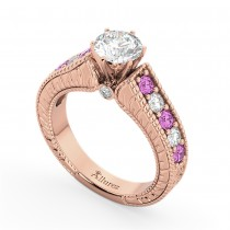 Vintage Diamond & Pink Sapphire Engagement Ring 18k Rose Gold (1.41ct)