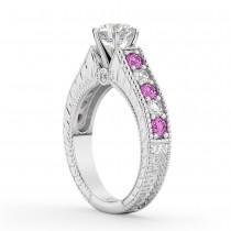Vintage Diamond & Pink Sapphire Engagement Ring in Palladium (1.41ct)