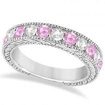 Antique Diamond & Pink Sapphire Bridal Set in 14k White Gold (2.87ct)