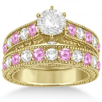 Antique Diamond & Pink Sapphire Bridal Set in 14k Yellow Gold (2.87ct)
