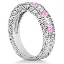 Antique Diamond & Pink Sapphire Bridal Ring Set in Platinum (2.87ct)