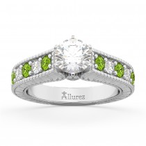 Vintage Diamond & Peridot Engagement Ring Setting 14k White Gold (1.35ct)