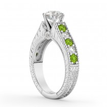 Vintage Diamond & Peridot Engagement Ring Setting 18k White Gold (1.35ct)
