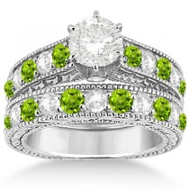 Antique Diamond & Peridot Bridal Wedding Ring Set 14k White Gold (2.75ct)