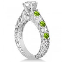 Antique Diamond & Peridot Bridal Wedding Ring Set 14k White Gold (2.75ct)
