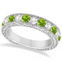 Antique Diamond & Peridot Engagement Wedding Ring 18k White Gold (1.40ct)
