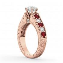 Vintage Diamond & Ruby Engagement Ring Setting 14k Rose Gold (1.35ct)