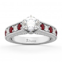 Vintage Diamond & Ruby Engagement Ring Setting 14k White Gold (1.35ct)