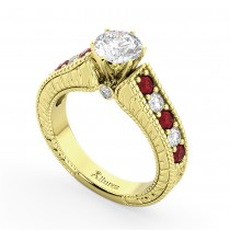 Vintage Diamond & Ruby Engagement Ring in 18k Yellow Gold (1.35ct)