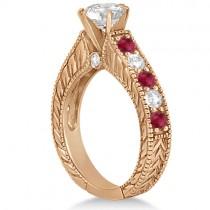 Antique Diamond & Ruby Bridal Wedding Ring Set 14k Rose Gold (2.75ct)