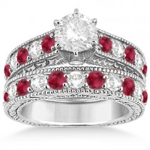 Antique Diamond & Ruby Bridal Wedding Ring Set 14k White Gold (2.75ct)