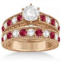 Antique Diamond & Ruby Bridal Wedding Ring Set 18k Rose Gold (2.75ct)
