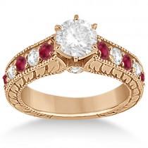 Antique Diamond & Ruby Bridal Wedding Ring Set 18k Rose Gold (2.75ct)