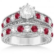 Antique Diamond & Ruby Bridal Wedding Ring Set 18k White Gold (2.75ct)