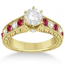 Antique Diamond & Ruby Bridal Ring Set in 18k Yellow Gold (2.75ct)