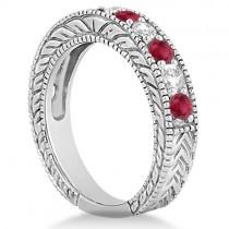 Antique Diamond & Ruby Wedding & Engagement Ring Set Platinum (2.75ct)