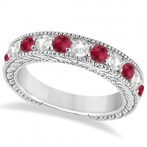Antique Diamond & Ruby Engagement Wedding Ring 18k White Gold (1.40ct)