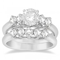 Five Stone Diamond Bridal Set Ring and Wedding Band Palladium (0.90ct)