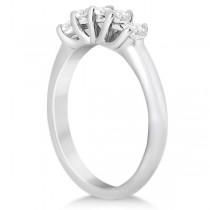 Five Stone Diamond Wedding Band For Women 14k White Gold (0.50ct)