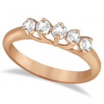 Five Stone Diamond Wedding Band For Women 18k Rose Gold (0.50ct)