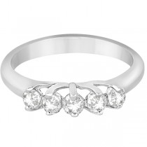 Five Stone Diamond Wedding Band For Women 18k White Gold (0.50ct)