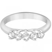 Five Stone Diamond Wedding Band For Women Palladium (0.50ct)