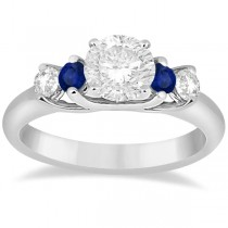 Five Stone Diamond and Sapphire Engagement Ring Palladium (0.50ct)