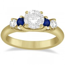 Five Stone Diamond and Sapphire Bridal Ring Set 14k Yellow Gold (1.10ct)